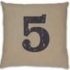 DR International Numeral 5 Linen Throw Pillow