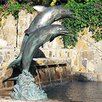 Dolphin Stainless Steel/Metal Double Dolphin Fountain - Size: Small (14 inch High) - Brass Baron Indoor and Outdoor Fountains