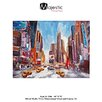Majestic Mirror Big New York Time Square Abstract Painting Print on Wrapped Canvas