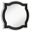 Majestic Mirror Round Accent Mirror with Chic Silver Leaf and Black Crocodile Frame