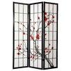 "Oriental Furniture 72"" x 42"" Cherry Blossom Decorative 3 Panel Room Divider"
