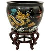 """Oriental Furniture 16"""" Dragons Fish Bowl with Stand in Black Lacquer"""