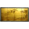 "Oriental Furniture 36"" x 72"" Gold Leaf Fishing for Life 4 Panel Room Divider"