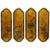 Oriental Furniture Birds and Flowers Curved 4 Piece Original Painting Plaque