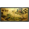 "Oriental Furniture 36"" x 72"" Gold Leaf River View 4 Panel Room Divider"