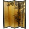 "Oriental Furniture 69.5"" x 67"" Gold Leaf Bamboo 4 Panel Room Divider"