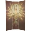 "Oriental Furniture 70.25"" x 46.5"" Bamboo Tree Thousand Arm Kwan Yin 3 Panel Room Divider"