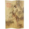 """Oriental Furniture 70.25"""" x 46.25"""" Asian Beauty 3 Panel Room Divider"""