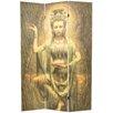 "Oriental Furniture 70.25"" x 46.25"" Bamboo Tree Kwan Yin 3 Panel Room Divider"
