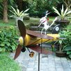 Aviator Spike Whirligig Pinwheel - Blue Handworks Garden Statues and Outdoor Accents