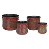4-Piece Cast Iron Pot Planter Set - Regal Art & Gift Planters