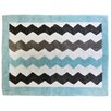 My Baby Sam Chevron Baby Aqua/Gray Kids Rug