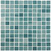 "EliteTile Colgadilla Square 0.88"" x 0.88"" Glass Mosaic Tile in Niebla Azul Anti Slip"