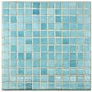 "EliteTile Colgadilla Square 0.88"" x 0.88"" Glass Mosaic Tile in Niebla Azul"