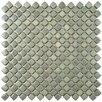 """EliteTile Gem 0.71"""" x 0.71"""" Porcelain Mosaic Tile in Glossy Grey"""