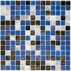 "EliteTile Fused 0.75"" x 0.75"" Glass Mosaic Tile in Marine"