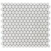 "EliteTile Penny 0.75"" x 0.75"" Porcelain Mosaic Tile in White"