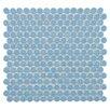 "EliteTile Penny 0.8"" x 0.8"" Porcelain Mosaic Tile in Light Blue"