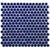 """EliteTile Penny 0.75"""" x 0.75"""" Porcelain Mosaic Tile in Cobalt"""