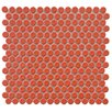 """EliteTile Penny 0.75"""" x 0.75"""" Porcelain Mosaic Tile in Vermilion"""