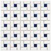 EliteTile Retro Random Sized Porcelain Mosaic Tile in White and Blue