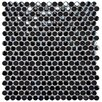 "EliteTile Posh Penny 0.625"" x 0.625"" Porcelain Mosaic Tile in Black"