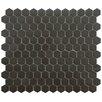 "EliteTile New York 0.875"" x 0.875"" Hex Porcelain Unglazed Mosaic Tile in Antique Black"