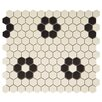 "EliteTile New York 0.875"" x 0.875"" Hex Porcelain Unglazed Mosaic Tile in Antique White with Heavy Flower"