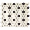 "EliteTile New York 0.875"" x 0.875"" Hex Porcelain Unglazed Mosaic Tile in Antique White with Black Dot"