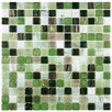 "EliteTile Fused 0.75"" x 0.75"" Glass Mosaic Tile in Forest Green"