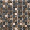 "EliteTile Abbey 0.875"" x 0.875"" Natural Stone and Metal Mosaic Tile in Alloy Rosa"
