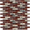 """EliteTile Sierra 0.5"""" x 1.875"""" Glass and Natural Stone Mosaic Tile in Bordeaux"""