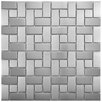 EliteTile Metallic Random Sized Metal and Porcelain Mosaic Tile in Silver