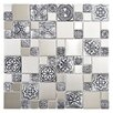 "EliteTile Metallic 11.75"" x 11.75"" Stainless Steel Over Porcelain Mosaic Tile in Versailles Silver"