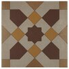 """EliteTile Cementa 7"""" x 7"""" Ceramic Glazed Tile in Geo Centro (Set of 2)"""
