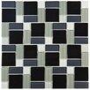 EliteTile Ambit Random Sized Glass Mosaic Tile in White and Black