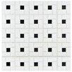 EliteTile Retro Random Sized Porcelain Mosaic Tile in White and Black