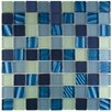 "EliteTile Neptunian 1.125"" x 1.125"" Glass Mosaic Tile in Abalone"