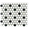 "EliteTile Retro 0.875"" x 0.875"" Porcelain Mosaic Tile in Matte White with Black Dots"