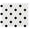"""EliteTile Retro 0.875"""" x 0.875"""" Hex Porcelain Mosaic Tile in Matte White with Black Dots"""