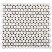 "EliteTile Penny 0.8"" x 0.8"" Porcelain Mosaic Tile in White"