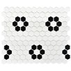 "EliteTile Retro 0.875"" x 0.875"" Hex Porcelain Mosaic Tile in White with Heavy Flower"