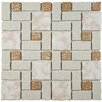 EliteTile Pallas Random Sized Porcelain Mosaic Tile in Beige