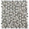 "EliteTile Tucana .59"" x .59"" Porcelain Mosaic Tile in Gray and White"