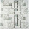 EliteTile Pallas Random Sized Porcelain Mosaic Tile in Gray and White