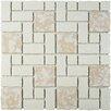 EliteTile Pallas Random Sized Porcelain Mosaic Tile in Bone
