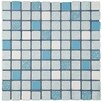 """EliteTile Minerva 1"""" x 1"""" Porcelain Mosaic Tile in Blue"""