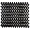 "EliteTile Retro .75"" x .75"" Penny Round Porcelain Mosaic Tile in Matte Satin Black"