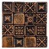 "EliteTile Barroco 1"" x 1"" Metallic Resin Wall Medallion Tile in Brass"