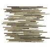 "EliteTile Commix Mini Linear 11.75"" x 11.75"" Brushed Aluminum and Glass Mosaic Tile in Aragon"